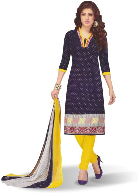 vastra export Cotton Polyester Blend Printed Semi-stitched Salwar Suit Dupatta Material