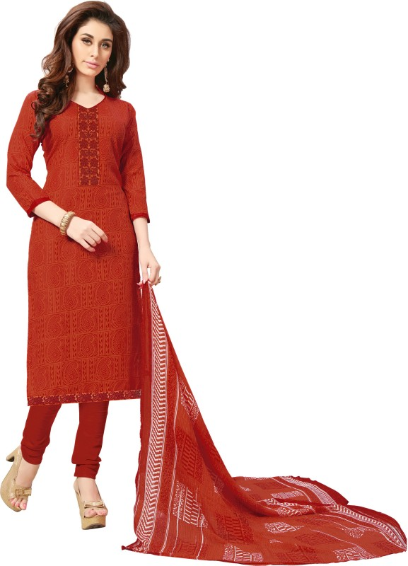 Women Latest Fancy Designer Salwar Suit Cotton Blend Self Design Salwar Suit Material(Semi Stitched)