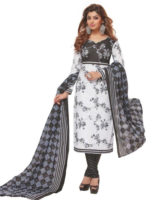 Salwar Studio Cotton Floral Print, Checkered Salwar Suit Dupatta Material(Un-stitched)