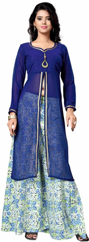 MADA Poly Georgette Printed Kurta & Palazzo Material(Unstitched)