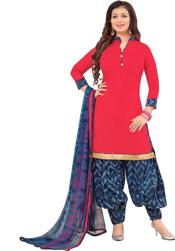 Women Latest Fancy Designer Salwar Suit Cotton Blend Printed, Solid Salwar Suit Material