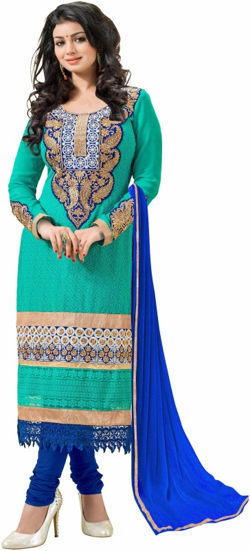 Women Latest Fancy Designer Salwar Suit Poly Georgette Self Design, Embroidered Salwar Suit Material(Unstitched)