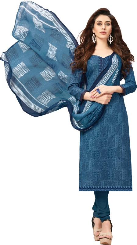 Women Latest Fancy Designer Salwar Suit Cotton Blend Printed, Embroidered Salwar Suit Material
