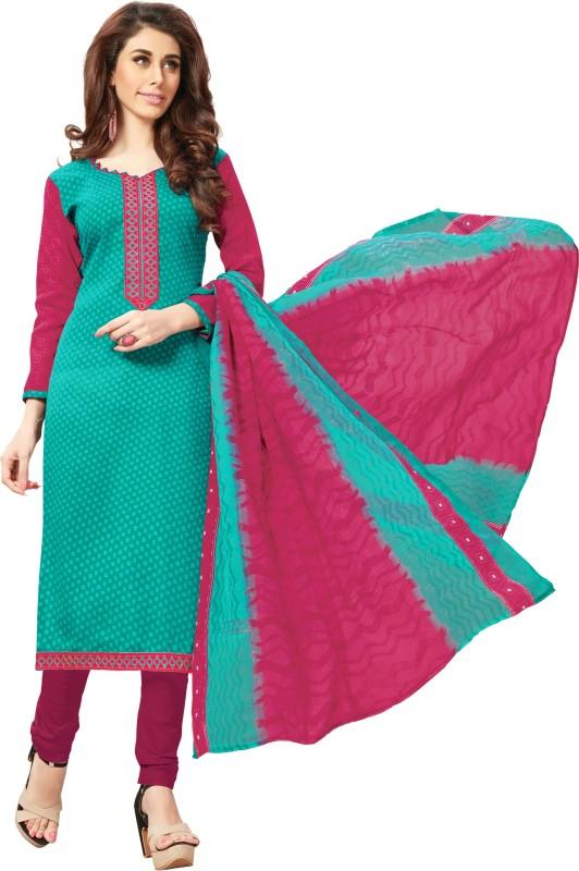 Women Latest Fancy Designer Salwar Suit Cotton Blend Embroidered, Embellished Salwar Suit Material(Unstitched)