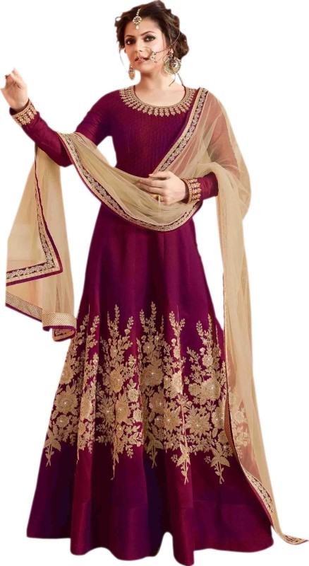 Jambudicreation Art Silk Embroidered Semi-stitched Salwar Suit Dupatta Material