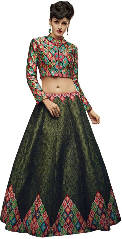 KMOZI Printed Semi Stitched Lehenga & Crop Top(Multicolor)