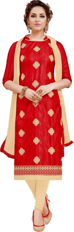 Saara Silk Embroidered Salwar Suit Dupatta Material(Un-stitched)