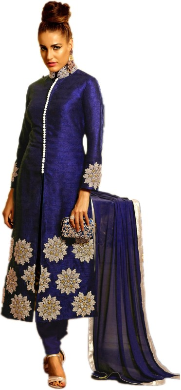 Shree Creation Cotton Silk Embroidered Kurta with Jacket & Bottom Material(Unstitched)