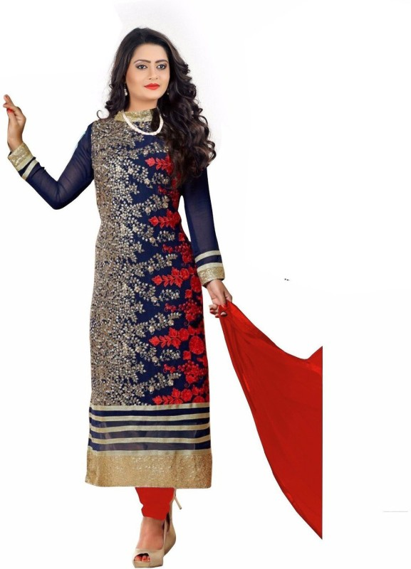 Vinayak Creation Poly Georgette Self Design, Embroidered Kurta with Jacket & Bottom Material(Semi Stitched)