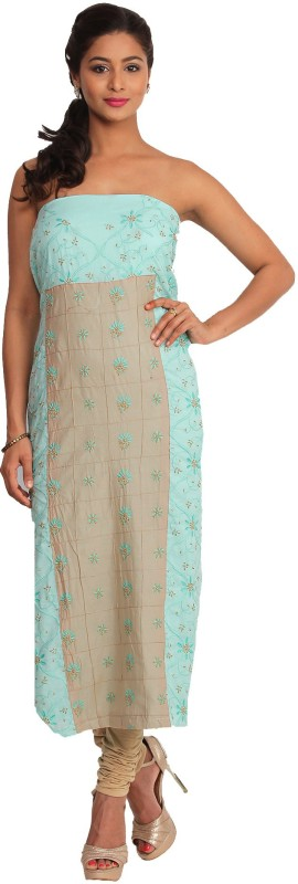 Kasturi-B Swadeshi Karigari Cotton Blend Embroidered Kurta & Palazzo Material(Unstitched)