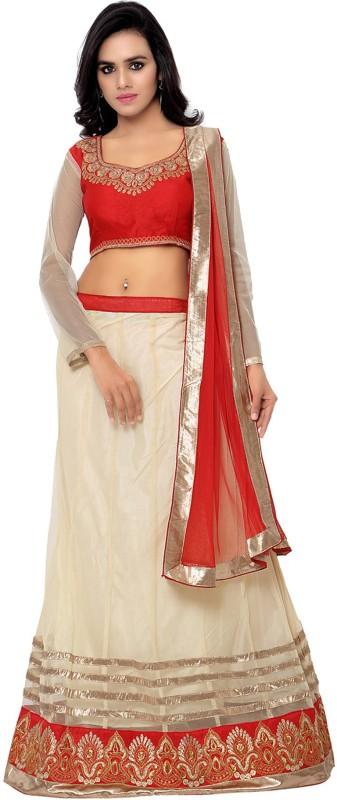 MF Retail Embroidered Lehenga Choli(White)