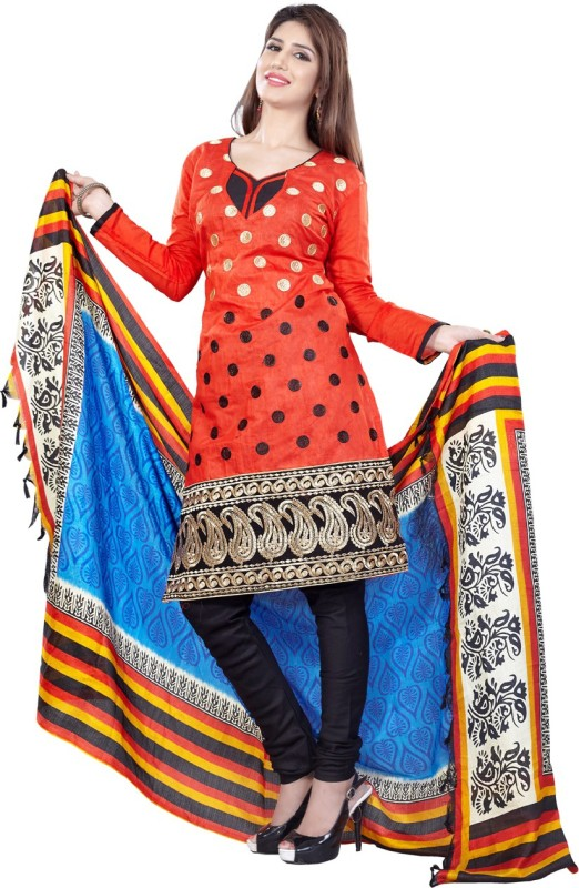 Li Te Ra Chanderi Embroidered Semi-stitched Salwar Suit Dupatta Material
