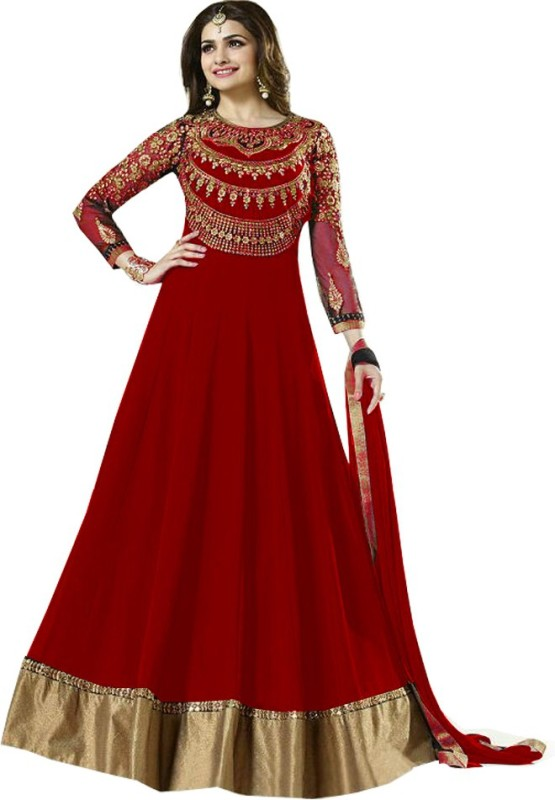 MF Retail Georgette Embroidered Semi-stitched Salwar Suit Dupatta Material