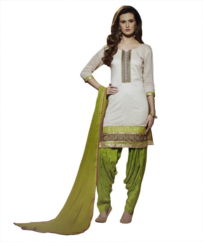 Kvsfab Chanderi Embroidered Salwar Suit Dupatta Material(Un-stitched)