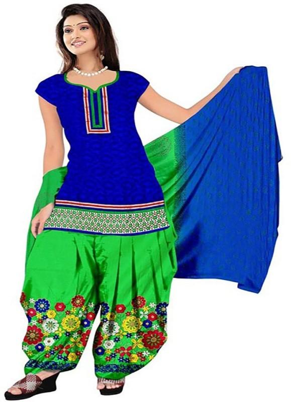 Aashvi Creation Cotton Embroidered Semi-stitched Salwar Suit Dupatta Material