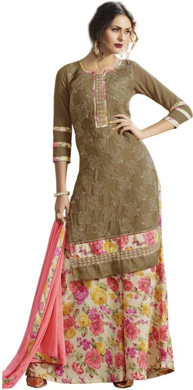Saara Chiffon Embroidered Semi-stitched Salwar Suit Dupatta Material