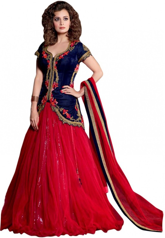Clickedia Embroidered Lehenga Choli(Red, Blue)