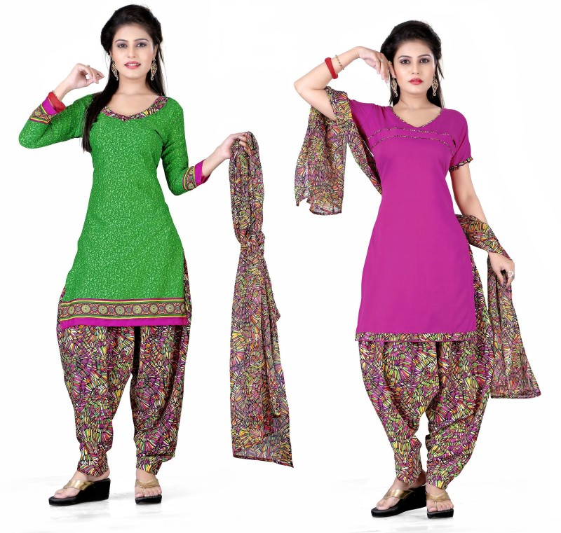 Women Latest Fancy Designer Salwar Suit Poly Crepe Printed, Solid Salwar Suit Material(Unstitched)
