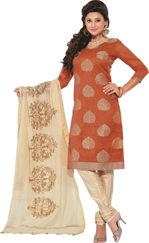 Parisha Cotton Blend Solid Kurta with Jacket & Bottom Material(Unstitched)