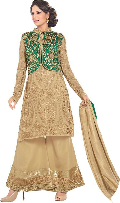 V And V Shop Poly Georgette Embroidered Kurta with Jacket & Bottom Material(Semi Stitched)