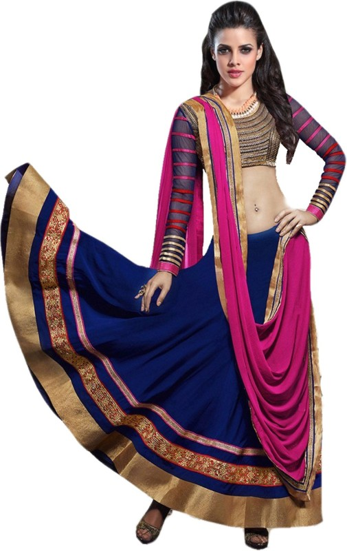 Clickedia Georgette Embroidered Semi-stitched Lehenga Choli Material