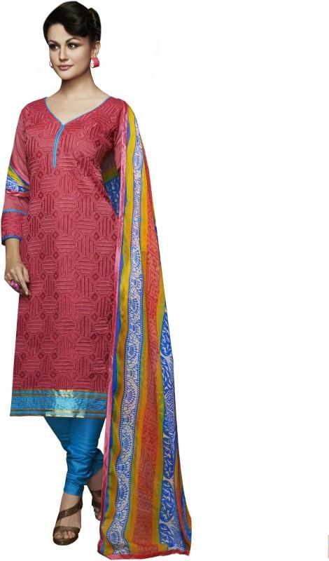 Manvaa Silk Embroidered Semi-stitched Salwar Suit Dupatta Material