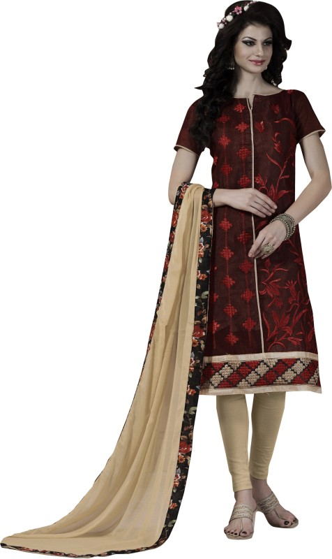 Women Latest Fancy Designer Salwar Suit Poly Chanderi Embroidered, Embellished Salwar Suit Material