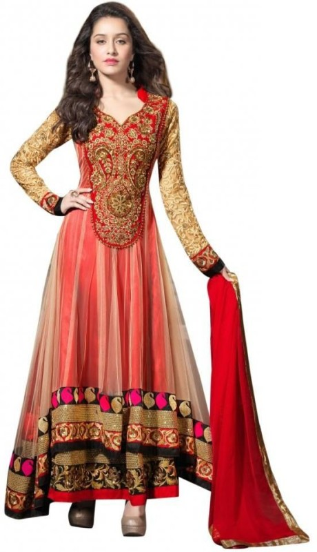 Fashionesta Net Embroidered Semi-stitched Salwar Suit Dupatta Material
