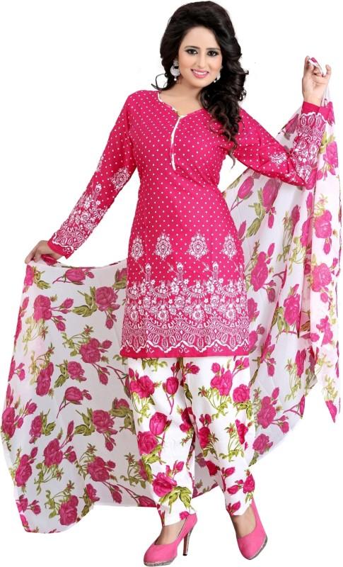 SalwarSaloon Crepe Self Design Salwar Suit Dupatta Material(Un-stitched)