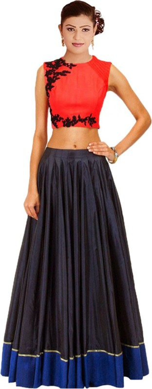 Clickedia Embroidered Lehenga & Crop Top(Multicolor)