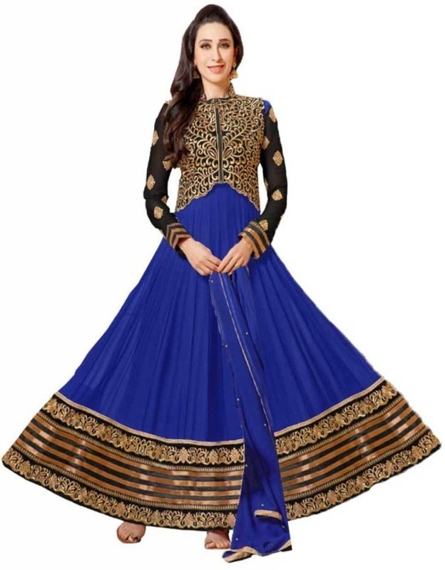 Chatri Fashions Brocade, Art Silk, Organza Embroidered Semi-stitched Salwar Suit Dupatta Material