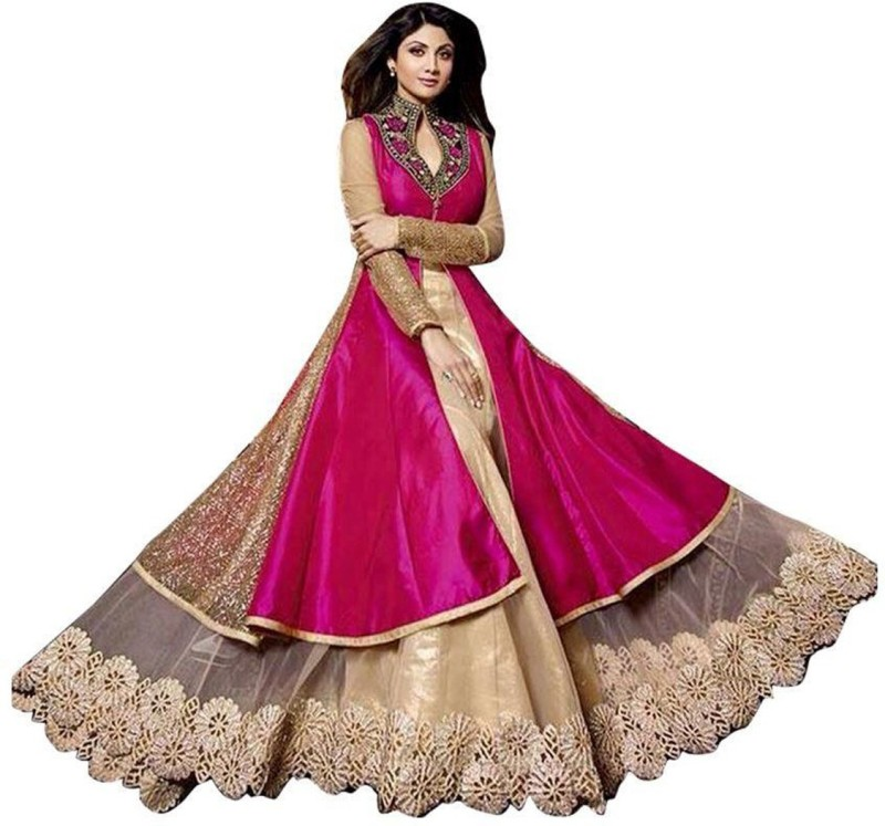 MF Retail Silk Embroidered Semi-stitched Salwar Suit Dupatta Material