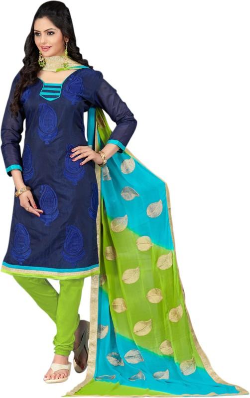Saara Chanderi Embroidered Salwar Suit Dupatta Material(Un-stitched)
