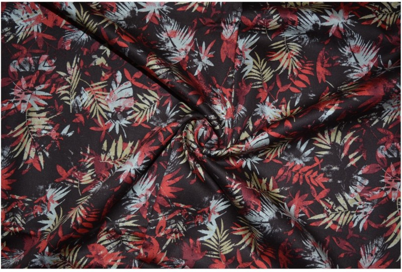 V WALKERS Satin Floral Print Shirt Fabric(Un-stitched)
