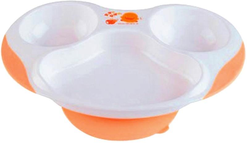 Piyo Piyo Section Dining Plate  - Plastic(White, Orange)