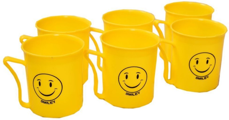 SR Gifts Smiley Mug(Pack of 6)  - Plastic(Yellow)