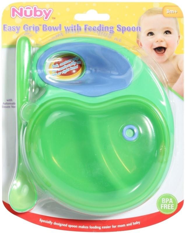 Nuby Easy Grip Bowl with Feeding Spoon  - Plastic(Green)