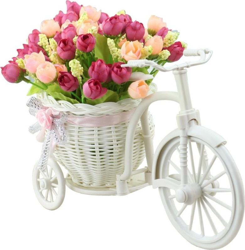 Tiedribbons Cycle vase Beutiful peonies Plastic Flower Basket with Artificial Flower &...