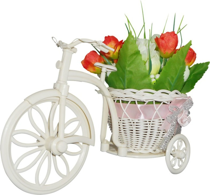 SKY TRENDS Best Gifts For Sister Flower Plastic Flower Basket with Artificial Flower & Plant(W: 26 cm x H: 15 cm x D: 15 cm)