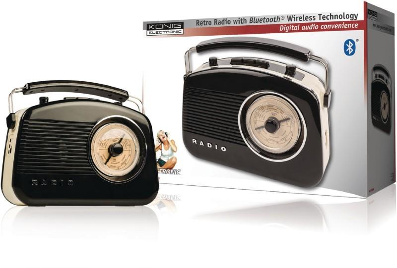 Konig Retro Radio With Bluetooth Wireless Technology FM Radio(Black)