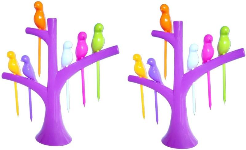 Dhawan Birdie Plastic Fruit Fork Set(Pack of 14)