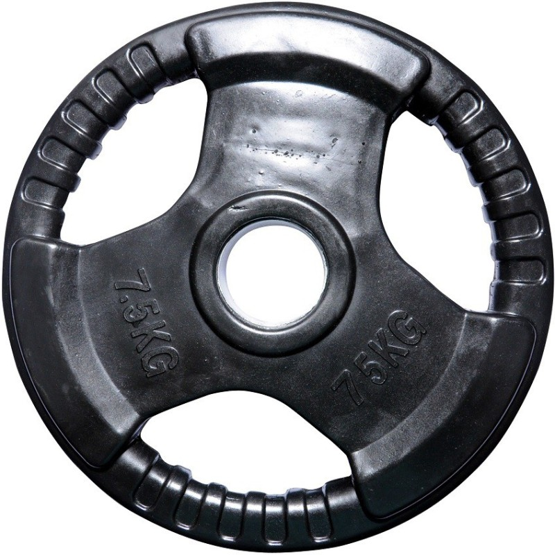 Biceps Triceps Premium Rubber Black Weight Plate(7.5 kg)