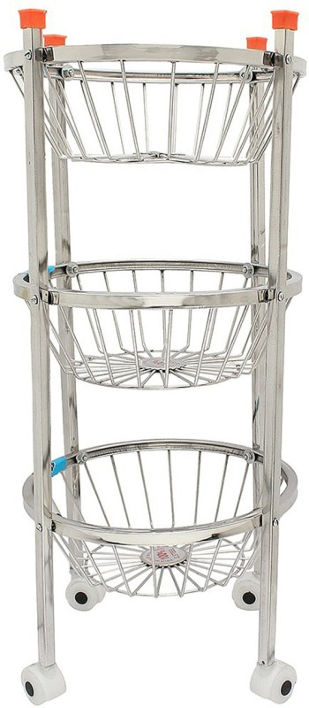 Balaji Enterprises 3 Round Circle Frooty Stainless Steel Kitchen Trolley