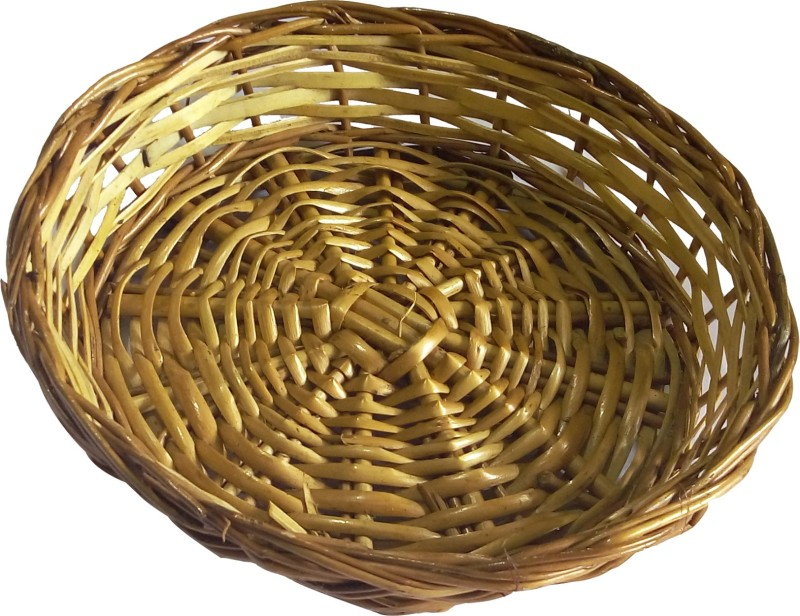 SwadesiBuyzzar Bamboo, Wood Fruit & Vegetable Basket(Beige, Brown)