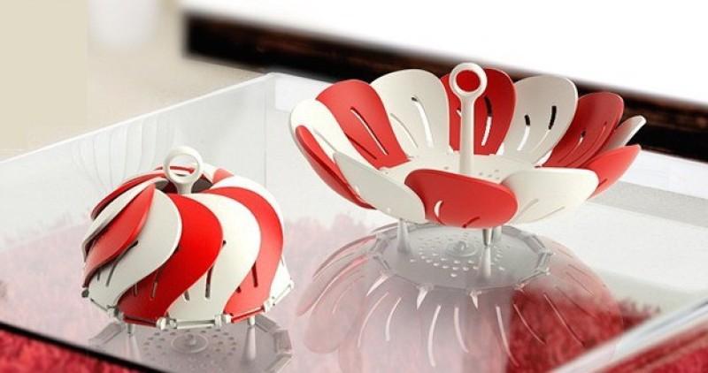 Big Impex Fold able Fruit Basket Plastic Fruit & Vegetable Basket(White, Red, Purple, Pink)