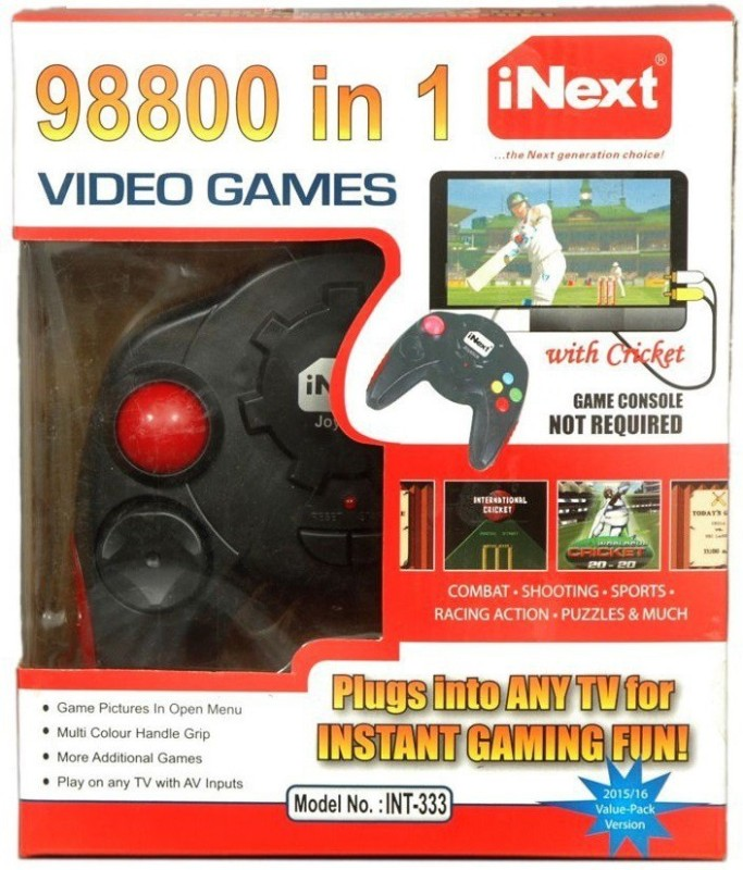 Inext 98800 in 1 Video Game - INT333 with Combate+Shooting+Sports+Racing Action+Puzzles & More(Black)