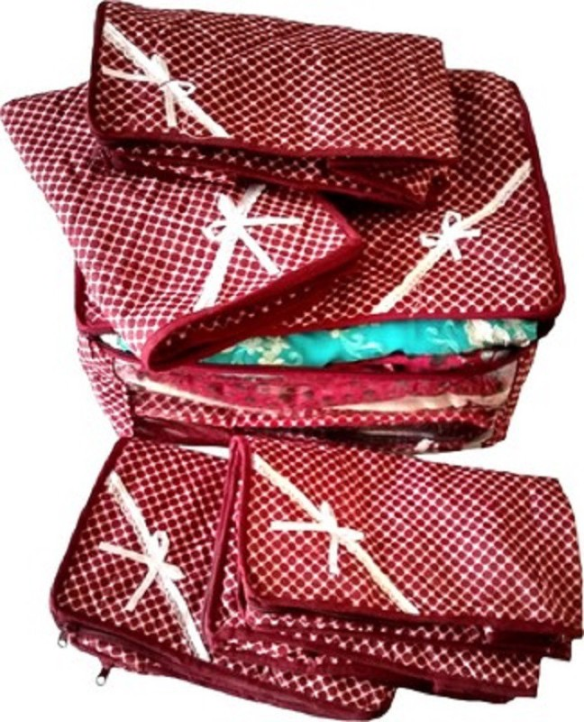 Kuber Industries Designer Saree Cover 5 Pcs MKU586(Maroon)