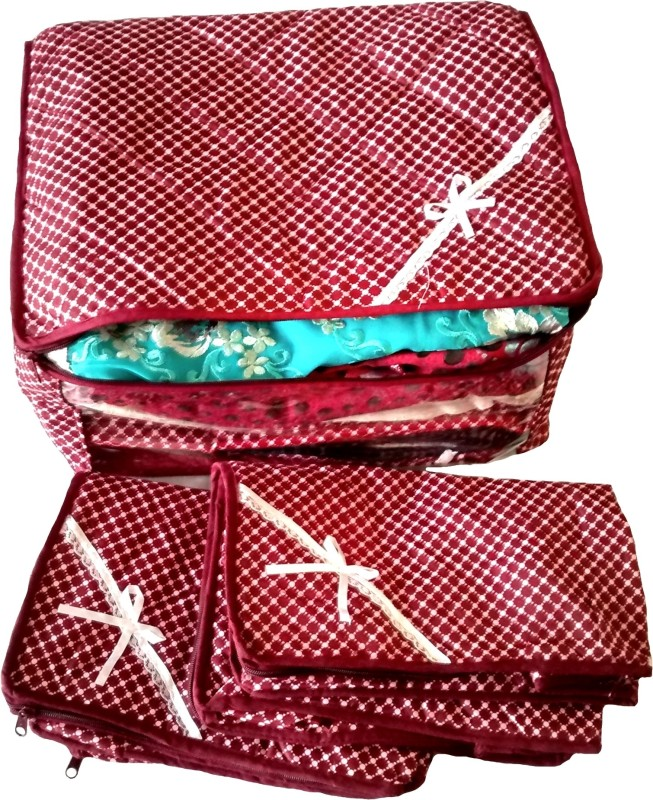 indi-bargain-printed-maroon-combo-of-3-transparent-multi-saree-coverred