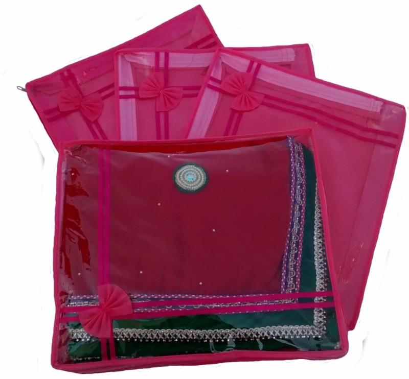 indi-bargain-designer-pink-set-of-4-transparent-double-saree-coverpink