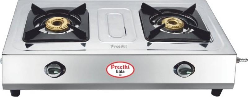 Preethi Blu Flame Elda Stainless Steel Manual Gas Stove(2 Burners)